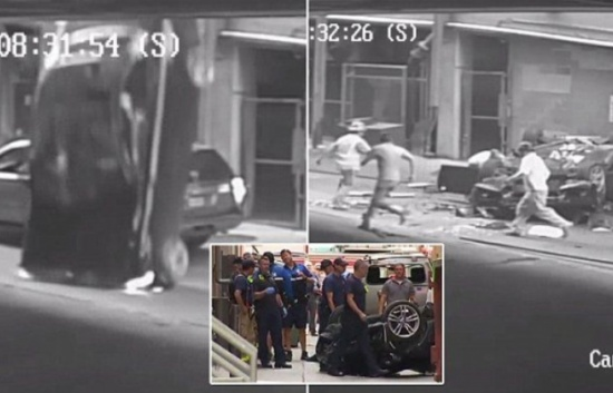 شاهد: لحظة سقوط سيارة من الطابق السابع ونجاة قائدتها
