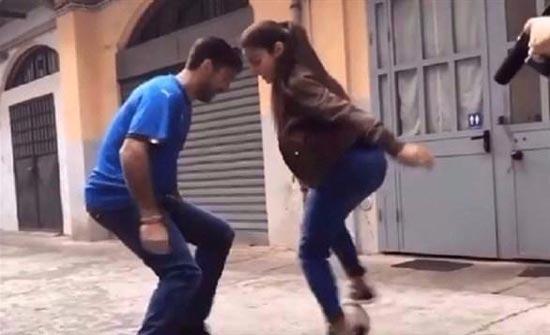 بالفيديو.. فتاة جزائرية تخطف الأنظار من النجم بوفون بمهاراتها الكروية