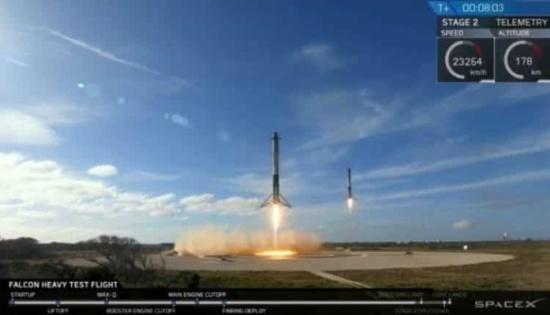 إطلاق صاروخ فالكون هافي FALCON HEAVY الأقوى في العالم حاملًا سيارة ملياردير