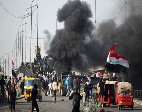 شاهد : متظاهرو بغداد يهتفون ما نريدكم.. خلي إيران تفيدكم