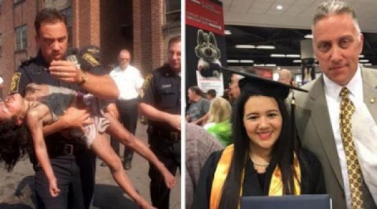 بالصور.. شرطي ينقذ طفلة ويحضر حفل تخرجها بعد 18 عاما