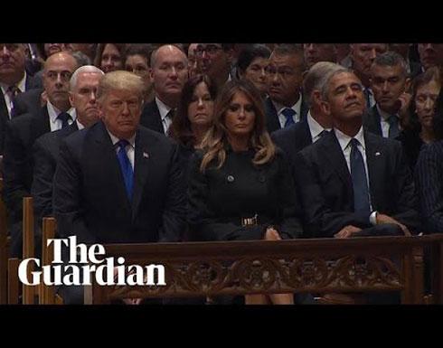 شاهد : ترامب يُصافح أوباما ويتجاهل الرئيس السابق كلينتون وزوجته