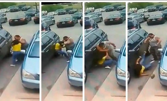 شاهد.. رجل ضخم ينهال بالضرب واللكمات على فتاة ووالدتها