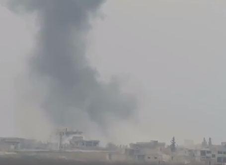 شاهد ..  قصف الطيران الحربي الروسي بلدات ريف ادلب