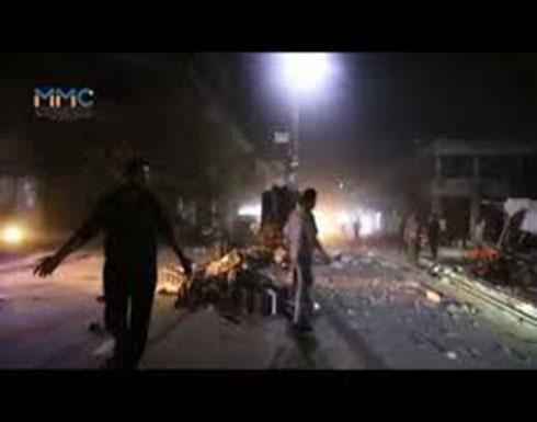 شاهد : اللحظات الأولى لمجزرة السوق الشعبي في مدينة معرة النعمان جنوب إدلب