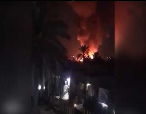 شاهد : حريق داخل منطقة مطار المثنى وسط بغداد