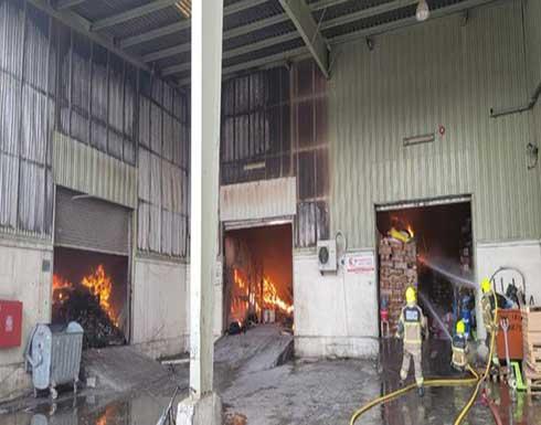 اندلاع حريق في مستودع بلاستيك في شارع بورسعيد بدبي .. بالفيديو