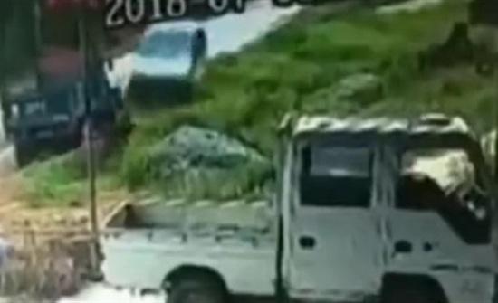 سيارة طائشة تصدم بقرة وتطيح بها في الهواء (فيديو)