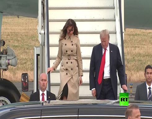 لحظة وصول دونالد ترامب رفقة زوجته ميلانيا الى مطار بروكسل