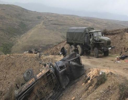 بالفيديو : سلاسل حديدية في سيارات الجيش الارمني
