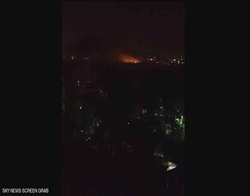 فيديو : انفجارات تدك مطار المزة العسكري في دمشق