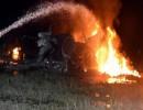 شاهد : مقتل 22 شخصا في تحطم طائرة عسكرية أوكرانية