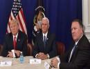الرئيس الأمريكي دونالد ترامب ونائبه مايك بينس ووزير خارجيته مايك بومبيو