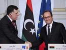 فيديو  مؤتمر صحفي للرئيس الفرنسي ورئيس حكومة الوفاق الوطني الليبية