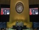 الرئيس الصيني خلال جلسة الجمعية العامة في الأمم المتحدة - فرانس برس
