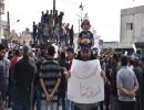 شاهد : مظاهرات في سوريا احتجاجا على تصريحات الرئيس الفرنسي