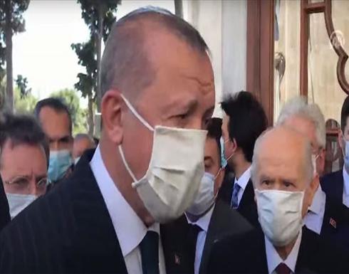 أردوغان يزور ضريح الفاتح ويعلن أعداد مصلي الجمعة بآيا صوفيا