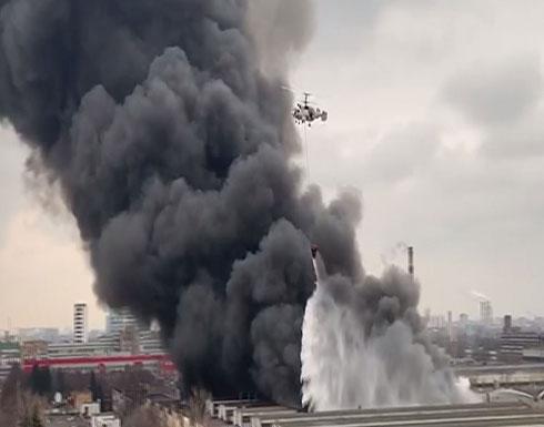 بالفيديو : الطوارئ الروسية: إطفاء حريق ضخم بجنوب موسكو