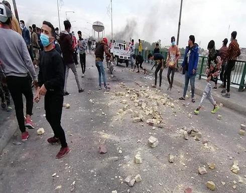 الناصرية تحتج لليوم الثالث وصدامات مع الأمن .. بالفيديو