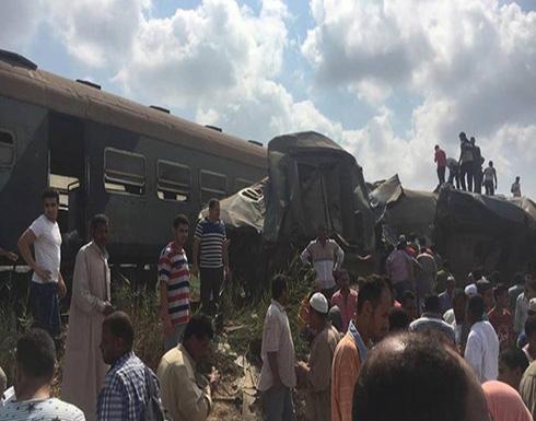 شاهد ..  حادث تصادم قطارين في الإسكندرية