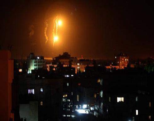 غزة تحت القصف ردا على صاروخي  تل ابيب