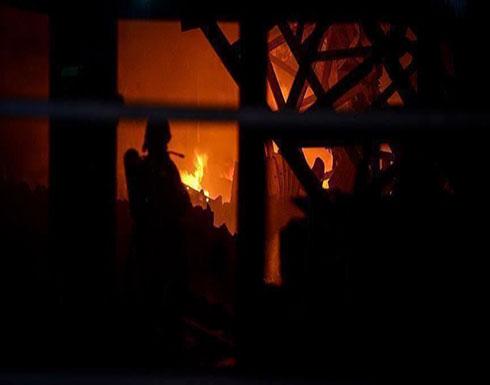 شاهد : حريق السفارة الرومانية وسط بغداد