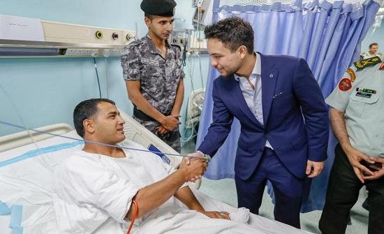 بالصور : الأمير حسين يزور مصابي الأمن والدرك