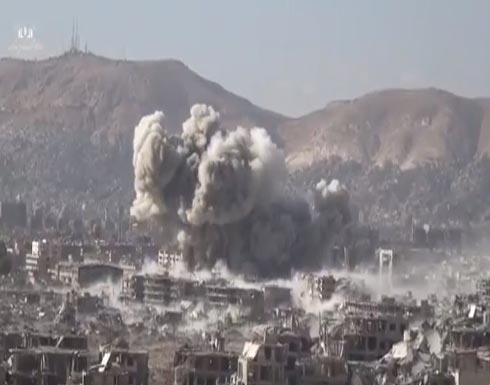 شاهد انفجارات ضخمة في الأحياء السكنية لحي جوبر الدمشقي