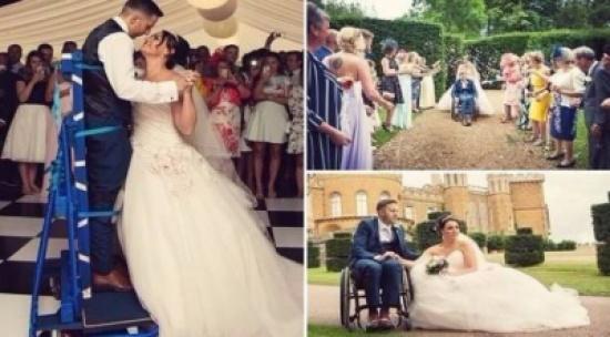 عريس مصاب بالشلل يقف في زفافه للمرة الأولى!