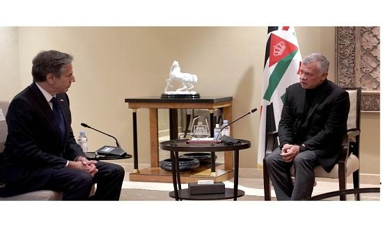 الملك عبدالله الثاني يلتقي وزير الخارجية الأمريكي أنتوني بلينكن
