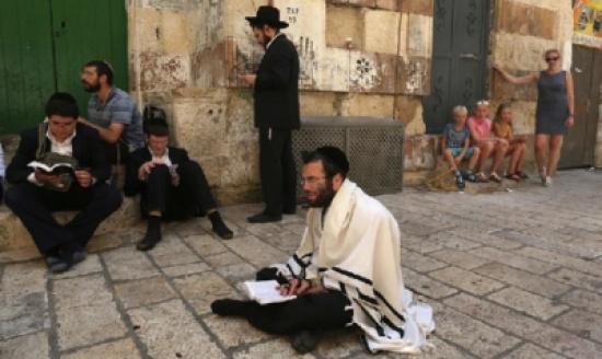 بالفيديو - صلوات تلمودية لمتطرفين يهود عند أبواب الأقصى