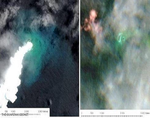 بركان يتسبب بإغراق جزيرة وظهور أخرى أكبرفي المحيط الهادي