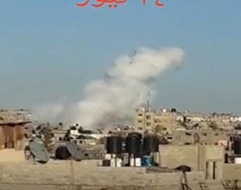 فيديو:  قتيلان في انفجار شرق غزة