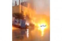بالفيديو شاهدوا ... شارع يحترق في عمان