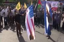 شاهد : إحراق علمي أمريكا وإسرائيل أثناء فعاليات يوم القدس في طهران