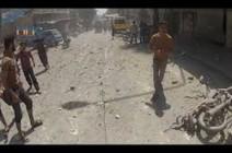 بالفيديو : 3 قتلى بقصف النظام السوري لسوق شعبي بريف إدلب