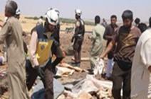 بالفيديو : قتلى مدنيون بينهم أطفال بقصف للنظام على مخيم نازحين بإدلب