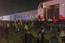 شاهد : حادث قطار جديد وسقوط عدد من المصابين في منيا القمح في مصر