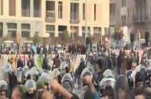 """بالفيديو : مواجهات بين مناصري """"المستقبل"""" والمحتجين في وسط بيروت"""