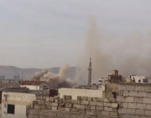 شاهد قصف مكثف على عربين في الغوطة الشرقية