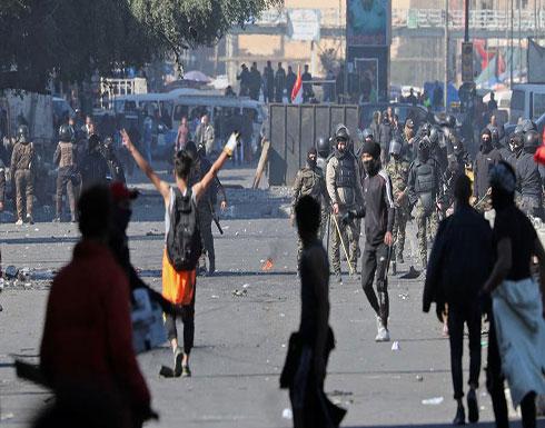 شاهد : قتيلان من المتظاهرين في ساحة الوثبة في بغداد الأحد