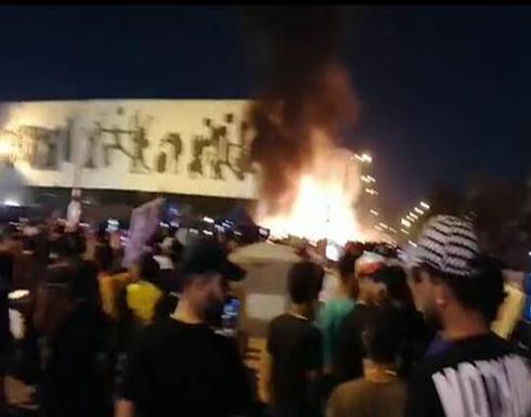 شاهد : احتراق خيم معتصمين في ساحة التحرير وسط بغداد
