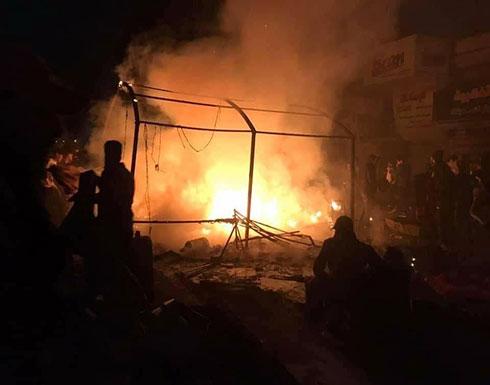 بالفيديو : قوات الشغب العراقي تحرق خيم المعتصمين في ساحة التحرير