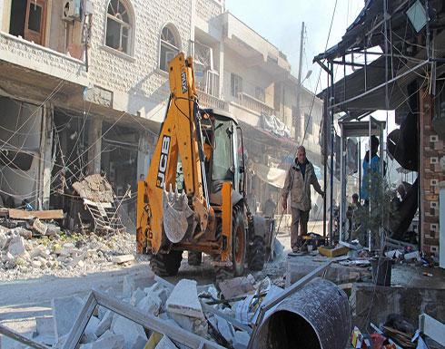 شاهد : فرار عشرات الألاف من السوريين بسبب القصف على إدلب