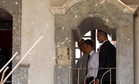 ماكرون يصل إلى الموصل ويزور كنيسة ومسجدا