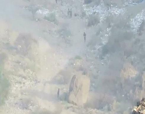 بالفيديو : فرار جماعي للحوثي أمام الجيش اليمني في نهم