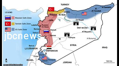 الإستخبارات: خارطة  المناطق الأمنية الأميركية الروسية التركية في سورية ( تفاصيل )