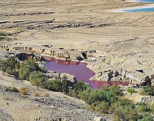 مياه حمراء غريبة بمحيط البحر الميت.. والمياه تتحقق