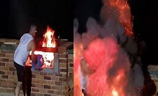 بالفيديو.. لحظة انفجار شواية في وجه رجل