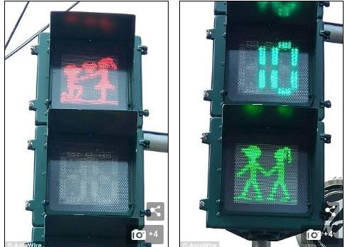 بالصور: إشارات المرور.. أحدث طرق الاحتفال بعيد الحب في تايوان